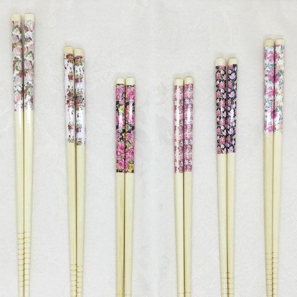 薔薇柄 お箸 1膳 白 約 22.5cm 竹製 ハンドメイド 薔薇雑貨